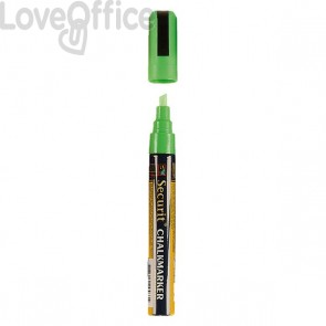 Pennarello a Gesso Liquido Verde Securit® Chalkmarker - a punta media - 2-6 mm
