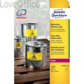 Etichette permanenti in poliestere Avery - 63,5x29,6 mm giallo Laser - 27 et./foglio (conf. 20 fogli)