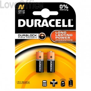 Pile Duracell Specialistiche - cilindrica alkalina - MN9100 N - (conf.2)