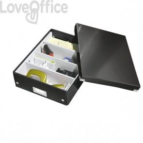 Scatola Archivio A4 bassa Nera Metallizzata Click & Store Leitz -  28x10x37 cm