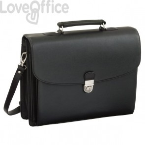 Cartella per documenti in similpelle Juscha - 40x15x32 cm - nero - 92011