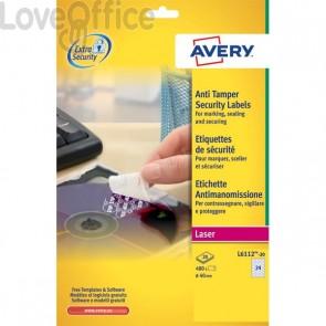 Etichette anti-manomissione per stampanti laser Avery - 63,5x29,6 mm - 27 - L6114-20 (conf.20)
