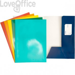 Cartelline cartoncino con lembi - 4company - presentazioni  - 300 g/mq - 24x32 cm - blu (conf.10)