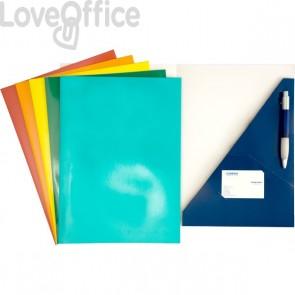 Cartelline con lembi ad incastro - 4company - presentazioni  - 300 g/mq - 23x32 cm - blu (conf.10)