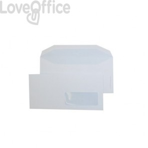 buste commerciali bianche con finestra pigna formato 11x23 cm