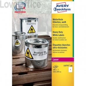 Etichette in poliestere Avery - laser - bianco - 210x297 mm (100 etichette)