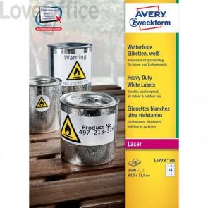 Etichette in poliestere Avery - laser - bianco - 63,5x33,9 mm (2400 etichette)