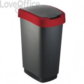 Cestino con coperchio basculante Rotho - nero/rosso - 50 l - F600027