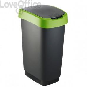 Cestino con coperchio basculante Rotho - nero/verde - 50 l - F600028