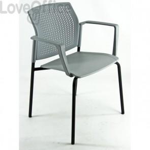 Seduta meeting in acciaio nero UNISIT - grigio - LGSPBR/2/GR (conf.2)