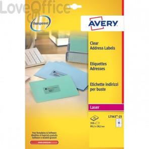 Etichette trasparenti QuickPEEL™ Avery - Laser - 99,1x38,1 mm - 14 et/ff - L7563-25 (conf.25)