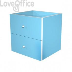 Coppia cassetti Libreria caselle Maxicube Artexport - azzurro - 32,5x28,8x32,5 cm - 2c MaxC/A