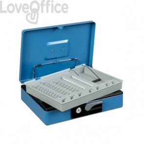 Cassetta portavalori Deluxe - 197x154x80 mm - blu - 3413BL