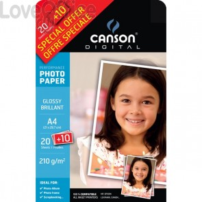 Canson Carta fotografica lucida A4 per Inkjet Performance - 210 g/mq (conf.30)