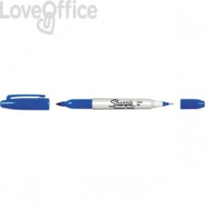 Penna indelebile doppia punta Sharpie Twin Tip Papermate - blu - tonda - 1-0,5 mm