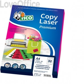 Etichette Copy Laser - Ang.arrot. - 200x142mm - Giallo - Prem.Tico fluo Las/Ink/Fot - LP4FV-200142 (140)