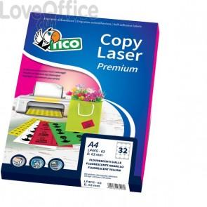 Etichette Fluo Copy Laser - Ang.arrot. - 47,5x25,5mm - Giallo - Prem.Tico Las/Ink/Fot - LP4FR-4725 (3080)