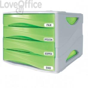 Cassettiera da scrivania Smile Arda - verde traslucido - 4 cassetti