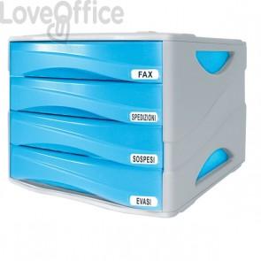 Cassettiera da scrivania Smile Arda - 4 cassetti - 29x38x25,5 cm - blu traslucido