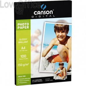 Canson Carta fotografica A4 per stampanti inkjet Everyday - Photo Matt Double Face - 170 g/mq (conf.50)