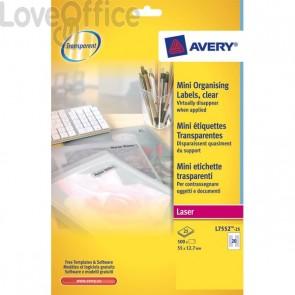 Mini etichette Avery - Laser - trasparente - 55x12,7 mm - 20 et/ff - L7552-25 (conf.25)