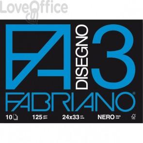 Album Fabriano disegno 3 - 24x33 cm - nero - 125 g/mq - 10 fogli