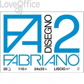 Album disegno Fabriano disegno 2 - Ruvido - 24x33 cm - a 4 angoli - 110 g/mq - 20 fogli - Bianco
