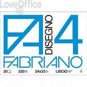 Album disegno Fabriano disegno 4 - Liscio riquadrato - 24x33 cm - 220 g/mq - 20 fogli