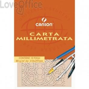 Carta opaca millimetrata Canson - A4 - 80 g/mq - 10 fogli - 200005812