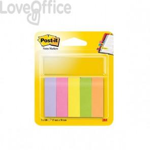 Segnapagina Post-it® Notes Markers - 15x50 mm - giallo, arancio, rosa neon, rosa, verde - 11303 (conf.5)