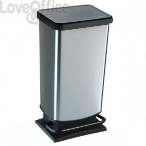 Pattumiera rettangolare Rotho - 35x30x68 cm - 40 litri - silver - F600060