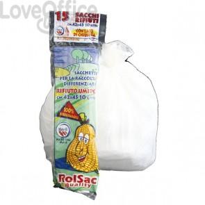 Sacchi per rifiuti Biodegradabili Cagliplast - 10 l - 0,019 my - bianco - 10130 (conf.15)