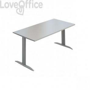 "Scrivania Ufficio Koros LineKit - fianco a ""T"" - Grigio - 160x80x72 cm"
