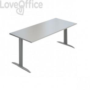 "Scrivania Ufficio Koros LineKit - fianco a ""T"" - Grigio - 180x80x72 cm"