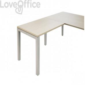 Allungo per scrivania ufficio Hong Kong LineKit - fianco a ponte alluminio - Rovere - 80x60x73 cm