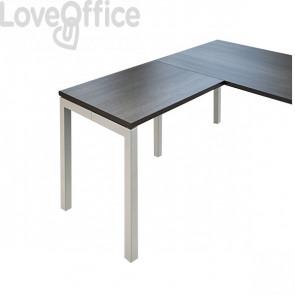 Allungo per scrivania ufficio Hong Kong Linekit - fianco a ponte alluminio - Wengé - 80x60x73 cm