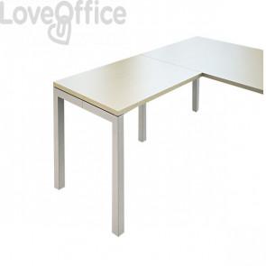 Allungo per scrivania ufficio Hong Kong LineKit - fianco a ponte alluminio - Acero - 80x60x73 cm