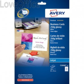 Biglietti visita Quick&Clean™Avery -Inkjet-fronte-retro-bianco glossy-250 g/mq-C32028-25 (conf.200)