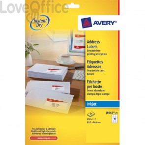 Etichette bianche QuickDry per indirizzi Avery - 63,5x46,6 mm - 18 et/ff - J8161-25 (conf.25)