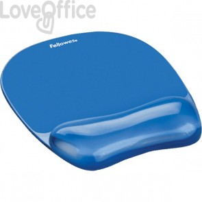 Mousepad con poggiapolsi Crystal Gel Fellowes - azzurro - 23,5x23x1,5 cm - 9114120