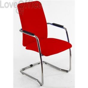 sedia da ufficio in polipropilene rossa operativa