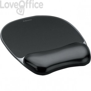 Mousepad con poggiapolsi Crystal Gel Fellowes - nero - 23,5x23x1,5 cm - 9112101