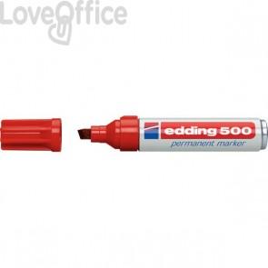 Pennarello indelebile rosso Edding 500 - scalpello - 2-7 mm