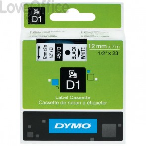 Nastro Dymo D1 - 12 mm x 7 m - bianco/trasparente - S0720600