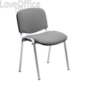 sedia attesa ignifuga di colore grigio con gambe cromate
