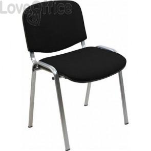 sedia attesa in polipropilene di colore nero con gambe grigie