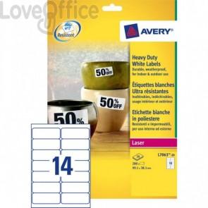 Etichette in poliestere Avery - laser - bianco - 99,1x38,1 mm (280 etichette)