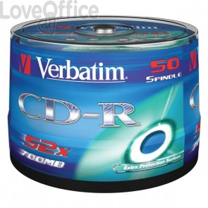 CD Verbatim - CD-R - 700 Mb - 52x - Super AZO stampabile - Spindle - 43438 (conf.50)