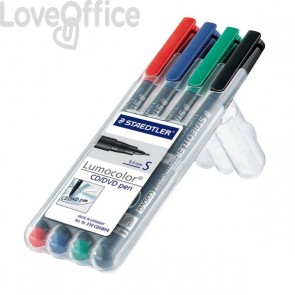 Staedtler Lumocolor Permanent - pennarelli indelebili punta fine - CD/DVD - assortiti - superfine - 0,4 mm (conf.4)