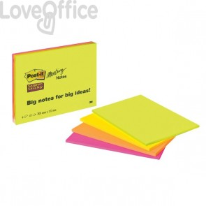 Post-it® SuperSticky Meeting Note Large - 200x149 mm - verde,giallo,arancio,rosa - 6845-SSP (conf.4)